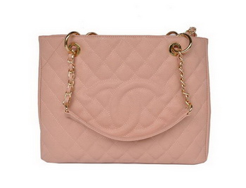 Chanel A50995 Pink Cannage Leather Shoulder Bag Gold