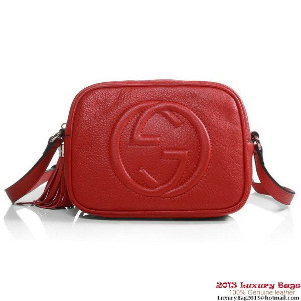 b8a084a08b26 Gucci 308364 A7M0G 6523 Soho Red Leather Disco Bag