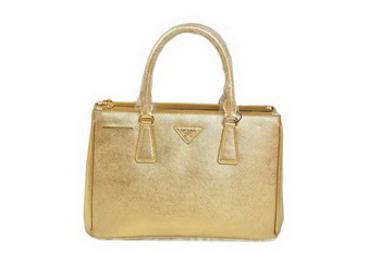 Prada BN2274 Saffiano Gold Calfskin Leather Tote Bag