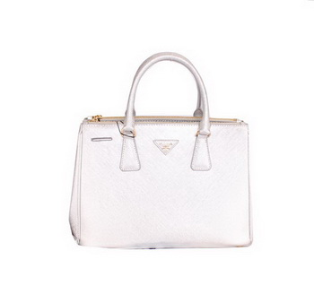 Prada BN2274 Saffiano Silver Calfskin Leather Tote Bag