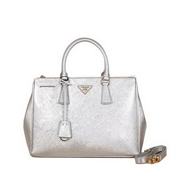 Prada BN2274 Silver Saffiano Leather Tote Bag