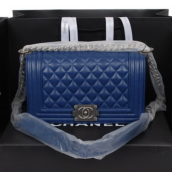 1f4034517749 Boy Chanel Flap Shoulder Handbag in Sheepskin Leather A58500 RoyalBlue