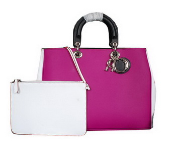 Dior Medium Diorissimo Bag Original Leather D0903 Plum&White&Black
