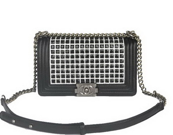 Boy Chanel Flap Bag with Black PVC and Sheepskin Leather A92093 Black