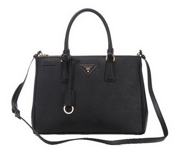 Prada BN2274 Black Saffiano Calfskin Leather Tote Bag