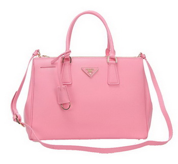 Prada BN2274 Pink Saffiano Calfskin Leather Tote Bag