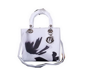 Christian Dior Lily Flower Lady Dior Bag D5432 White