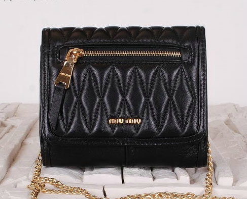 miu miu Matelasse Leather Flap Shoulder Bags BL0530 Black