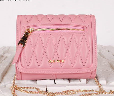 miu miu Matelasse Leather Flap Shoulder Bags BL0530 Pink