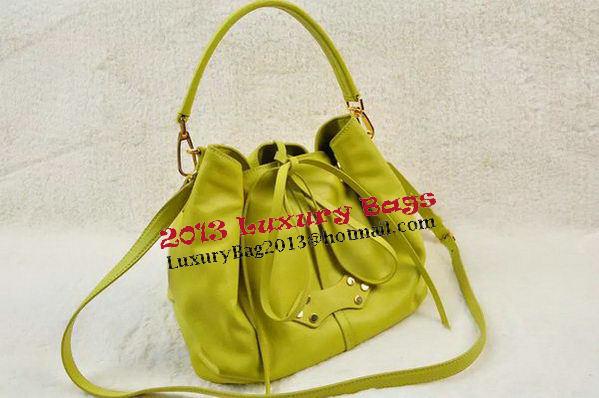 miu miu Original Smooth Leather Hobo Bag MM6611 Yellow 87048c7737022