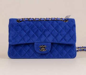 c35d602e5d96 Chanel 2.55 Series Classic Flap Bag Velvet CF1112 Blue,knockoff