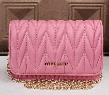 miu miu Matelasse Leather Flap Shoulder Bags BL6553 Pink