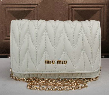 miu miu Matelasse Leather Flap Shoulder Bags BL6553 White