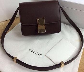 ece250387c00 Celine Classic Box mini Flap Bag Smooth Leather C11041T Burgundy ...