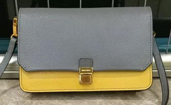 miu miu Madras Goat Leather Shoulder Bag RT0639 Grey&Yellow