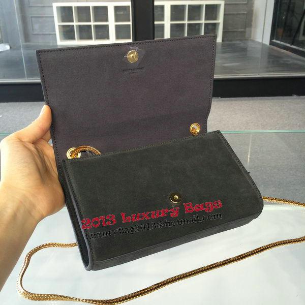 YSL Monogramme Cross-body Shoulder Bags Suede Leather 311218 Grey ... f13df7fb55a1b