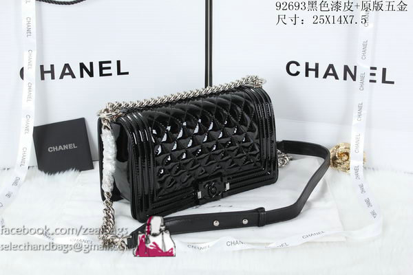 Boy Chanel Flap Shoulder Bag Patent Leather A92093 Black