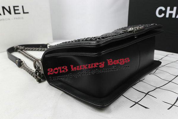 ba8b64b29be5 Boy Chanel Top Handle Flap Bag Calfskin A94804 Black