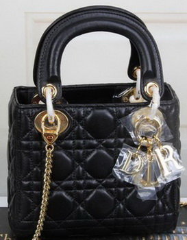 Dior mini Lady Dior Bag Original Sheeepskin Leather CD99001 Black