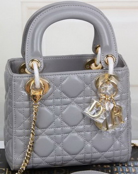 Dior mini Lady Dior Bag Original Sheeepskin Leather CD99001 Grey
