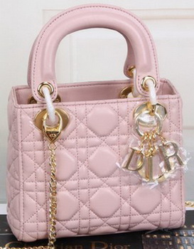 Dior mini Lady Dior Bag Original Sheeepskin Leather CD99001 Pink