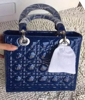 Dior Small Lady Dior Bag Patent Leather CD8239 Blue