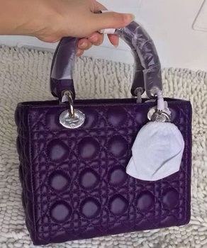 Dior Small Lady Dior Bag Sheeepskin Leather CD8239 Purple