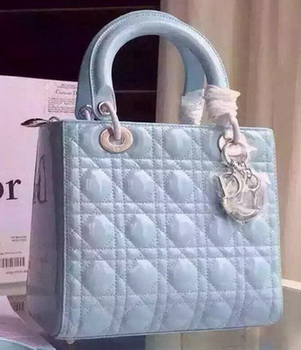 Dior Small Lady Dior Bag Patent Leather CD5502 Light Blue