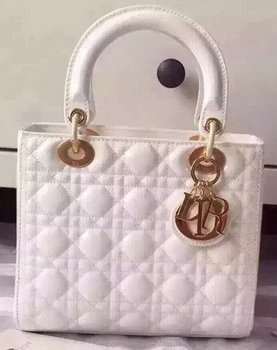 Dior Small Lady Dior Bag Patent Leather CD5502 White