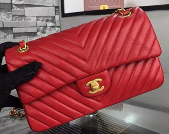 6af203920120 Chanel 2.55 Series Flap Bag Red Lambskin Chevron Leather A5023 Gold