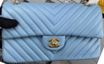 7e7c422b35b4 Chanel 2.55 Series Flap Bag SkyBlue Lambskin Chevron Leather A5023 Gold