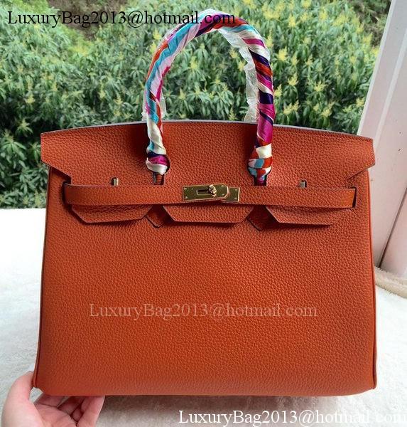 Hermes Birkin 35CM Tote Bag Orange Calfskin Leather BK35 Gold c9fa716175c80
