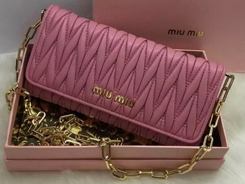 miu miu Matelasse Nappa Leather Clutch 5B6163 Rose