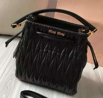 miu miu Matelasse Nappa Leather Hobo Bag 5BE004 Black