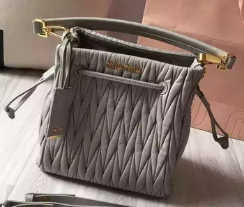 miu miu Matelasse Nappa Leather Hobo Bag 5BE004 Grey
