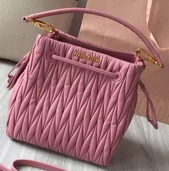 miu miu Matelasse Nappa Leather Hobo Bag 5BE004 Pink