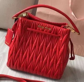 miu miu Matelasse Nappa Leather Hobo Bag 5BE004 Red