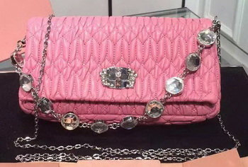 miu miu Matelasse Nappa Leather Shoulder Bag 5B005 Pink