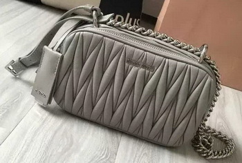 miu miu Matelasse Nappa Leather Shoulder Bag 5BH029 Grey