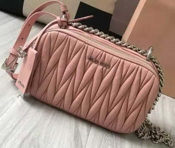 miu miu Matelasse Nappa Leather Shoulder Bag 5BH029 Pink