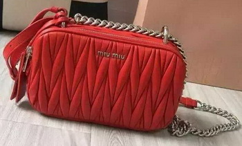 miu miu Matelasse Nappa Leather Shoulder Bag 5BH029 Red