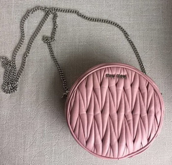 miu miu Matelasse Nappa Leather Shoulder Bag 5BH031 Pink