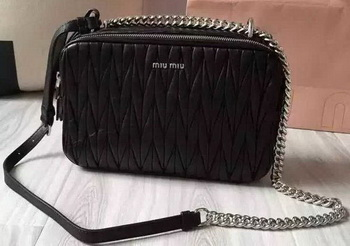 miu miu Matelasse Nappa Leather Shoulder Bag 5BH032 Black