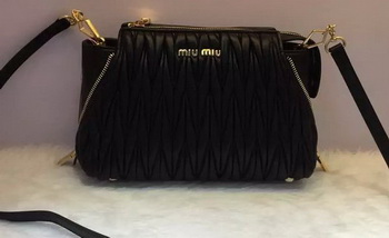 miu miu Matelasse Nappa Leather Shoulder Bag RN9110 Black