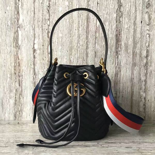 Gucci GG Marmont Quilted Leather Bucket Bag 476674 Black c1c8ca61390d1