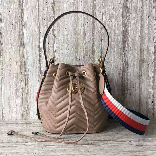 Gucci GG Marmont Quilted Leather Bucket Bag 476674 Camel b73975be41b2f