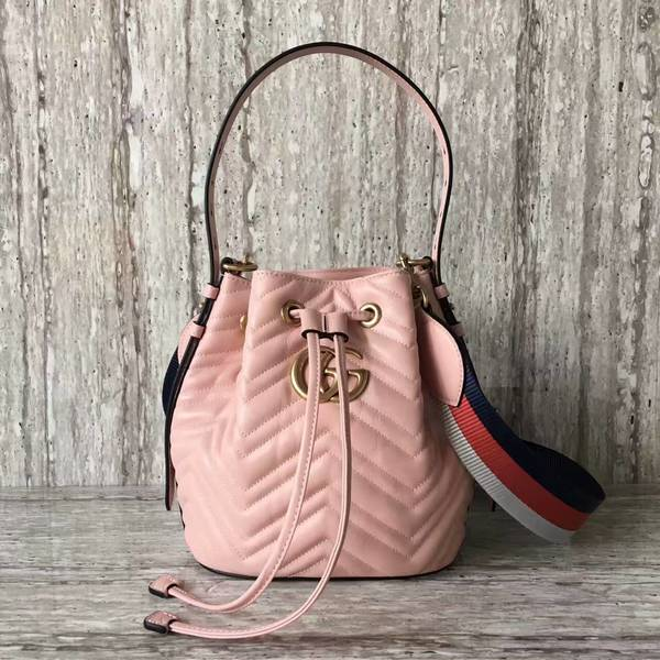 Gucci GG Marmont Quilted Leather Bucket Bag 476674 Pink 4d0f1b4ce4548