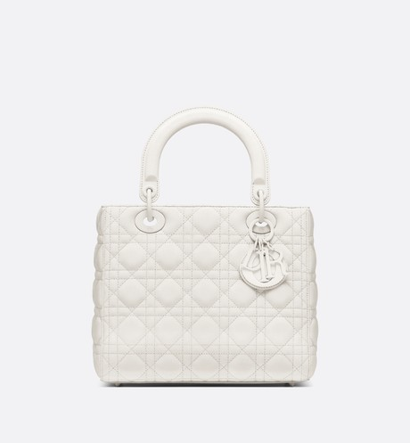 LADY DIOR ULTRA-MATTE MEDIUM BAG M0565IL white