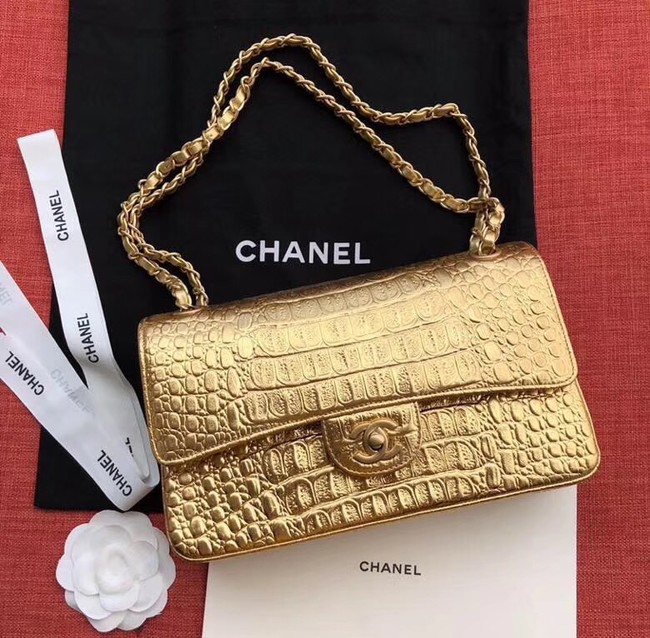 Chanel Classic Handbag Original Alligator & Gold-Tone Metal A01112 gold