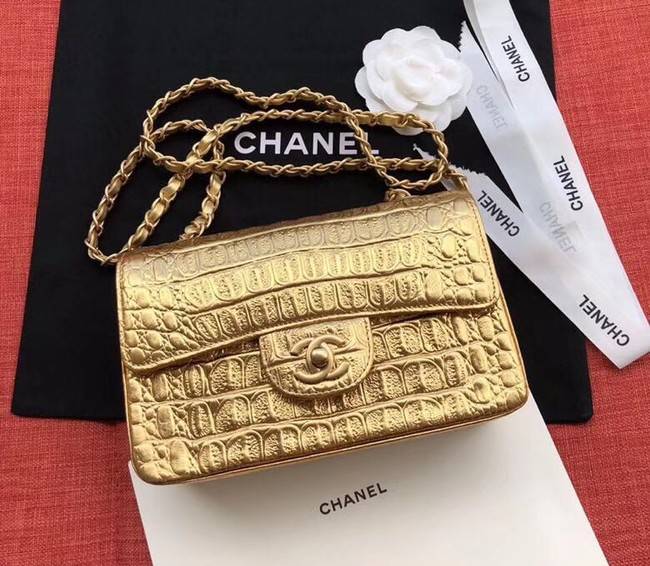 Chanel Classic Handbag Original Alligator & Gold-Tone Metal A01116 gold